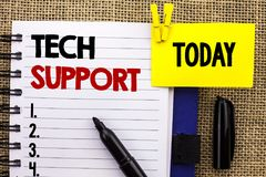 Word writing text Tech Support. Business concept for Help given by technician Online or Call Center Customer Service written on No. Word writing text Tech Royalty Free Stock Images