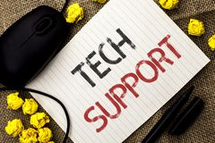 Word writing text Tech Support. Business concept for Help given by technician Online or Call Center Customer Service written on No. Word writing text Tech Stock Images