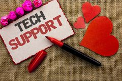 Word writing text Tech Support. Business concept for Help given by technician Online or Call Center Customer Service written on Ca. Word writing text Tech Stock Image