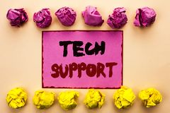 Word writing text Tech Support. Business concept for Help given by technician Online or Call Center Customer Service written on Pi. Word writing text Tech Royalty Free Stock Photos