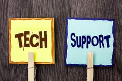 Word writing text Tech Support. Business concept for Help given by technician Online or Call Center Customer Service written on St. Word writing text Tech Royalty Free Stock Image