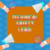 Word writing text Technical Safety Lead. Business concept for Maintain technical integrity and workplace safety Hu analysis Hands. Each Holding Magnifying Glass royalty free illustration