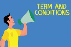 Word writing text Term And Conditions. Business concept for Policies and Rules where one must Agree to Abide.  vector illustration