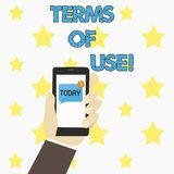 Word writing text Terms Of Use. Business concept for Established conditions for using something Policies Agreements. Word writing text Terms Of Use. Business stock illustration