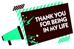 Free Word Writing Text Thank You For Being In My Life. Business Concept For Loving Someone For Being By Your Side Megaphone Loudspeaker Stock Photo - 121702880