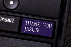 Word writing text Thank You Jesus. Business concept for Being grateful for what the Lord has given you Religious Keyboard key stock photography