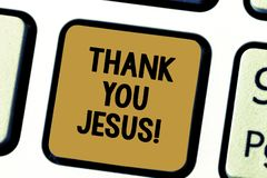 Word writing text Thank You Jesus. Business concept for Being grateful for what the Lord has given you Religious stock photos