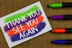 Word writing text Thank You See You Again. Business concept for Appreciation Gratitude Thanks I will be back soon Colorful waves w. Ith white page and texts stock photo