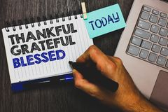 Word writing text Thankful Grateful Blessed. Business concept for Appreciation gratitude good mood attitude Paperclip grip sticky. Note with text hand hold pen Royalty Free Stock Photos