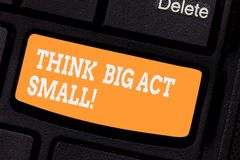 Word writing text Think Big Act Small. Business concept for Make little steps to slowly reach your biggest goals. Keyboard key Intention to create computer stock images