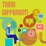 Word writing text Think Different. Business concept for Rethink Change on vision Acquire New Ideas Innovate. Word writing text Think Different. Business concept stock illustration