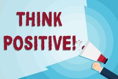Word writing text Think Positive. Business concept for to believe that you are going to be succeed in your goal Hand. Word writing text Think Positive. Business royalty free illustration