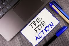Word writing text Time For Action. Business concept for Do something now for a particular purpose Act in this moment written on Wh. Word writing text Time For Royalty Free Stock Photography