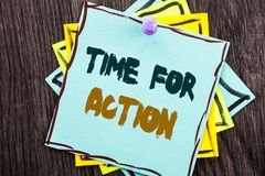 Word, writing, text  Time For Action. Business concept for Success Goal Fulfilment Deadline written on Blue Sticky Note Paper on t. Word, writing, text  Time For Royalty Free Stock Photos