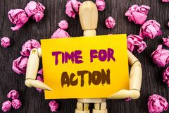 Word, writing, text  Time For Action. Conceptual photo Success Goal Fulfilment Deadline written on Sticky Note Holding By Sculptur. Word, writing, text  Time For Stock Photos