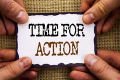 Word, writing, text  Time For Action. Conceptual photo Success Goal Fulfilment Deadline written on Sticky Note Paper Holding Hand. Word, writing, text  Time For Stock Image