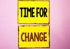 Word writing text Time For Change. Business concept for Changing Moment Evolution New Beginnings Chance to Grow written on Yellow. Word writing text Time For stock photography