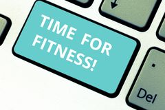 Word writing text Time For Fitness. Business concept for Right moment to start working out making exercises Keyboard key royalty free stock image