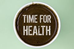 Word writing text Time For Health. Business concept for Lifestyle change health awareness wellness nutrition care written on Coff. Word writing text Time For royalty free stock photos