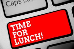 Word writing text Time For Lunch. Business concept for Moment to have a meal Break from work Relax eat drink rest Keyboard red key. Intention create computer royalty free stock photography