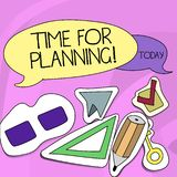 Word writing text Time For Planning. Business concept for exercising conscious control spent on specific activities Two. Word writing text Time For Planning stock illustration