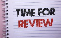 Word writing text Time For Review. Business concept for Evaluation Feedback Moment Performance Rate Assess written on Notebook Boo. Word writing text Time For royalty free stock image