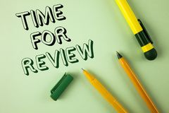 Word writing text Time For Review. Business concept for Giving Feedback Evaluation Rate job test or product Qualify written on Pla. Word writing text Time For royalty free stock photography