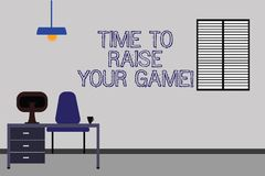 Word writing text Time To Raise Your Game. Business concept for Be more competitive actions to become the winner Work Space stock illustration