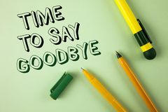 Word writing text Time To Say Goodbye. Business concept for Separation Moment Leaving Breakup Farewell Wishes Ending written on Pl. Word writing text Time To Say Royalty Free Stock Photos