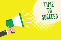 Word writing text Time To Succeed. Business concept for Thriumph opportunity Success Achievement Achieve your goals Man holding me. Gaphone loudspeaker speech stock illustration