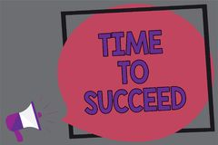 Word writing text Time To Succeed. Business concept for Thriumph opportunity Success Achievement Achieve your goals Megaphone loud. Speaker loud screaming gray stock illustration