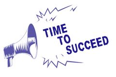 Word writing text Time To Succeed. Business concept for Thriumph opportunity Success Achievement Achieve your goals Purple megapho. Ne loudspeaker important royalty free illustration