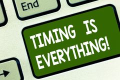 Word writing text Timing Is Everything. Business concept for when the time is right, everything will fall into place. Keyboard key Intention to create computer stock photography