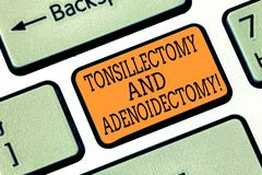 Word writing text Tonsillectomy And Adenoidectomy. Business concept for Procedure in removing tonsil and adenoid royalty free stock images