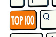 Word writing text Top 100. Business concept for List of best products services Popular Bestseller Premium high rate.  royalty free stock image