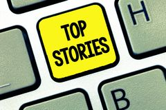 Word writing text Top Stories. Business concept for Most read important news information messages Headlines.  stock photography