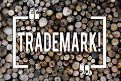 Word writing text Trademark. Business concept for Legally registered Copyright Intellectual Property Protection Wooden. Word writing text Trademark. Business stock photo