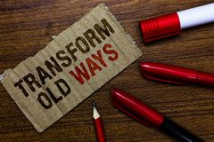 Word writing text Transform Old Ways. Business concept for replace it with new methods Alternatives new solution Pen. Pencil cap board marker pointer text stock photos