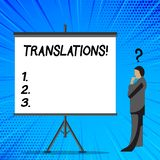 Word writing text Translations. Business concept for Written or printed process of translating words text voice. Word writing text Translations. Business photo royalty free illustration