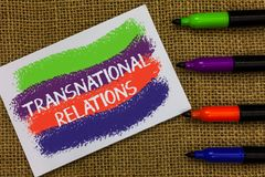 Word writing text Transnational Relations. Business concept for International Global Politics Relationship Diplomacy Colorful wave stock photos
