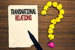Word writing text Transnational Relations. Business concept for International Global Politics Relationship Diplomacy Written torn stock images
