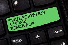 Word writing text Transportation And Home Removals. Business concept for Moving shipping packages new house Keyboard key. Intention to create computer message royalty free stock images