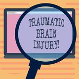 Word writing text Traumatic Brain Injury. Business concept for Insult to the brain from an external mechanical force Magnifying. Glass Enlarging Tablet Blank royalty free illustration