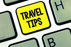 Word writing text Travel Tips. Business concept for Recommendations for a happy journey safe comfortable vacation.  stock photo