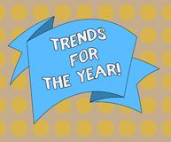 Word writing text Trends For The Year. Business concept for Modern trendy styles new designs fashion industry Folded 3D. Ribbon Strip Solid Color Blank Sash vector illustration