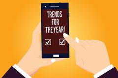 Word writing text Trends For The Year. Business concept for Modern trendy styles new designs fashion industry Hu. Analysis Hands Holding Pointing Touching royalty free illustration