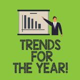 Word writing text Trends For The Year. Business concept for Modern trendy styles new designs fashion industry Man in. Business Suit Standing Pointing a Board royalty free illustration