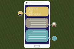 Word writing text Trends For The Year. Business concept for Modern trendy styles new designs fashion industry Mobile. Messenger Screen with Chat Heads and Blank stock illustration