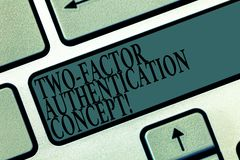 Word writing text Two Factor Authentication Concept. Business concept for two ways of proving your identity Keyboard key. Intention to create computer message royalty free stock photos