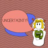 Word writing text Uncertainty. Business concept for Unpredictability of certain situations events behavior Girl Holding royalty free illustration